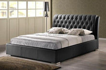 Black Modern Bed with Tufted Headboard