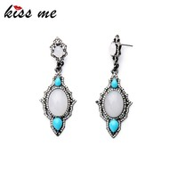 Jewellery Ear Trendy Antique Silver Plated Crystal Drop Earring