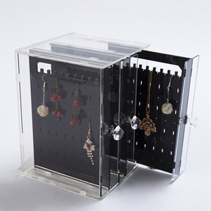 crystal clear acrylic fashion earring holder jewelry case display earring storage box
