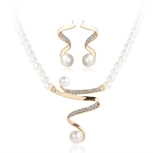 CS00050 JN wholesale Crystal indian diamond pearl necklace earrings pendant bridal wedding jewelry set