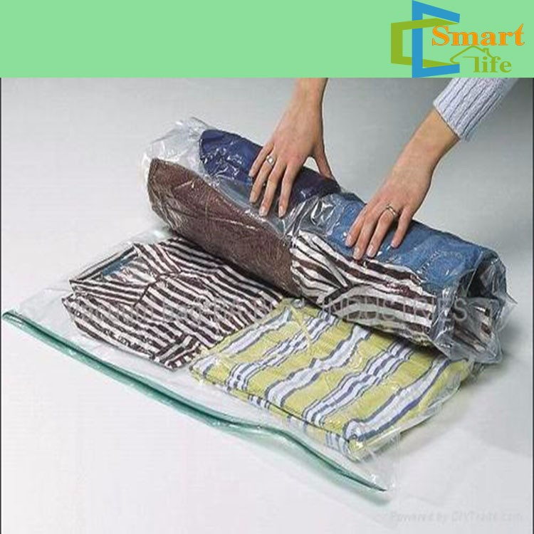 reusable roll-up space-saving storage vacuum seal bags