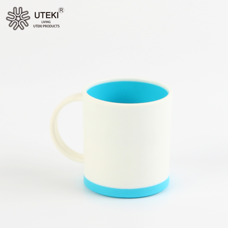 Fashion durable double color plastic coffee mug