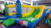 2016 fashion crayon model inflatable bouncy castle with slide