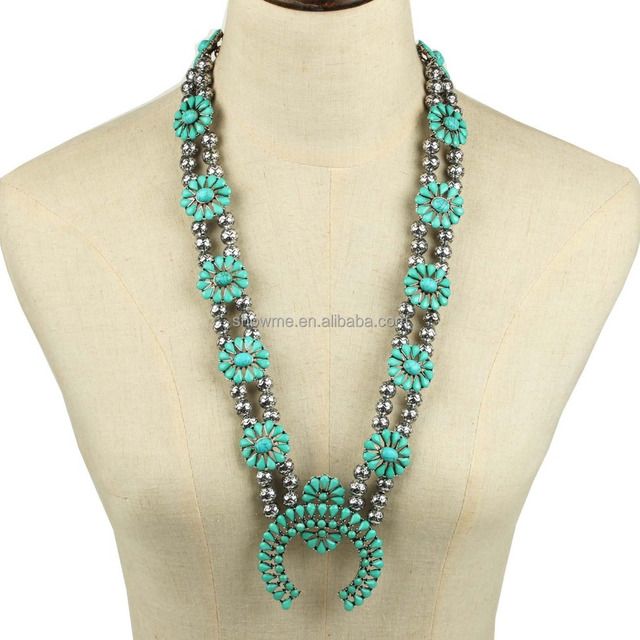 Fashionable alloy turquoise squash blossom necklace anniversary zinc alloy squash blossom necklace beads squash blossom necklace