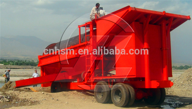 HSM Portable placer washing screen gold scrubber trommel