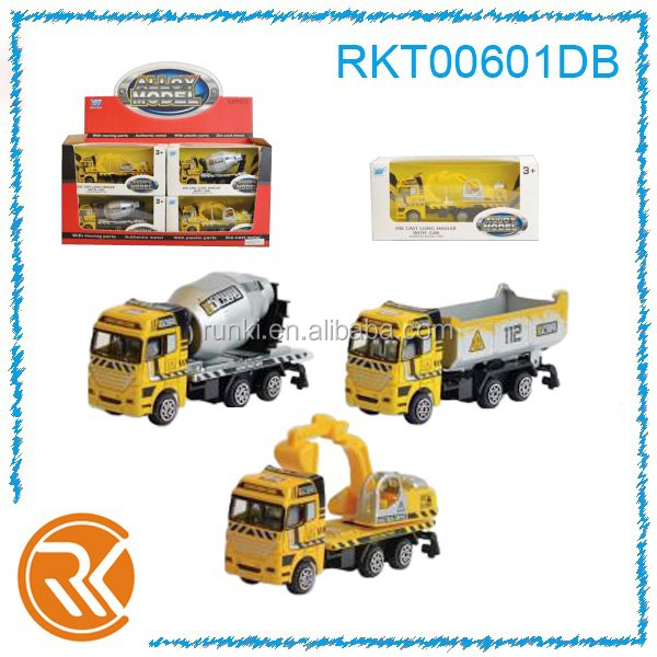 Mini toy die cast sliding construction truck toy