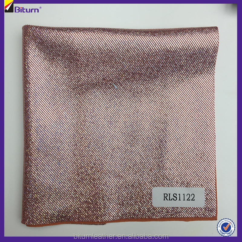 Chinese leather factory pu glitter leather stocklot for clothes with low prices