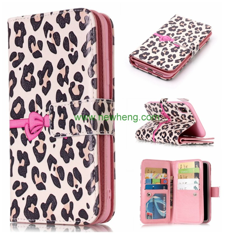 Leopard pattern PU Leather Case for iPhone X Stand Card slot phone Case