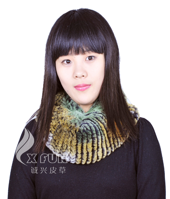 CX-B-76C Women Genuine Rex Rabbit Fur Elastic Knitted Snood <strong>Scarf</strong>