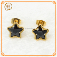 Dongguan fashion jewelry wholesale 14k gold plated black star earrings for party girls