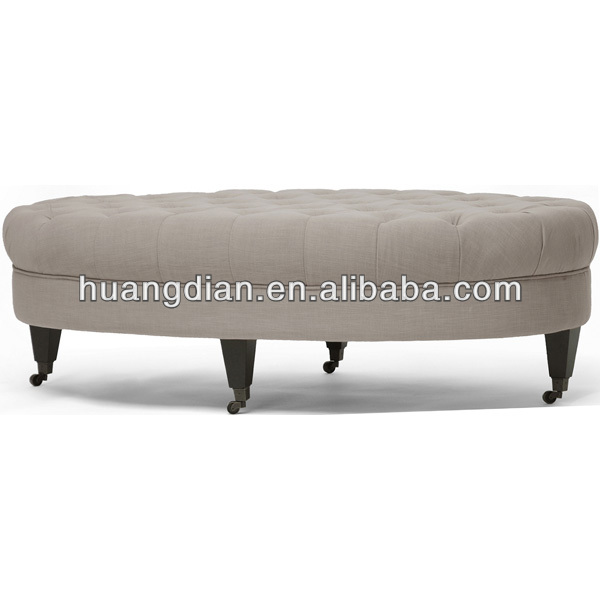 fabric round footstool frame in wood with wheels OT2205