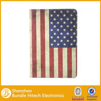 Retro leather cover for ipad mini 2, flag Pu leather case for ipad mini with retina