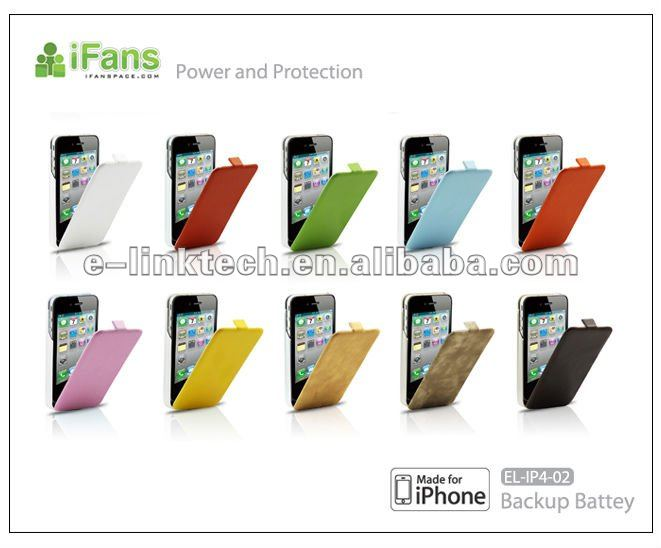 iFans 1450mAh external backup Battery with flip cover Power bank for iPhone 4/4S with MFI