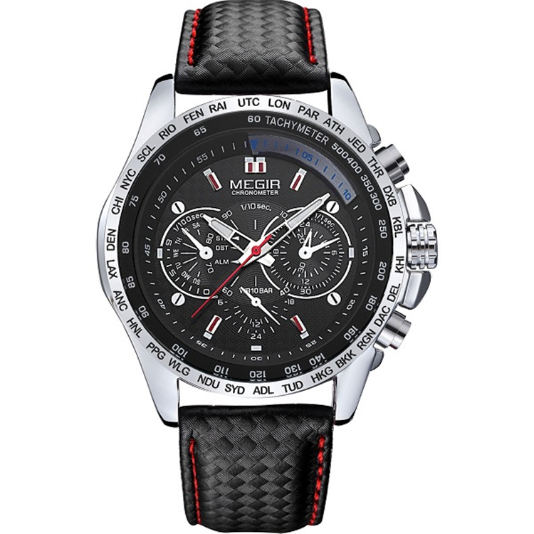 Megir Watch <strong>1010</strong> Men's Black Leather Band Luxury Water Resistant Chronograph Watches Men Wrist Business Quartz WristWatches
