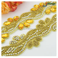 beaded rhinestone applique with yellow acrylic Bailange wholesale handmade wedding bridal rhinestone crystal strip for dress