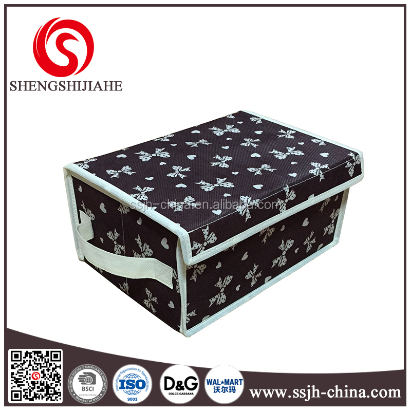 Printed Covered Folding Non-woven Fabric Collapsible Storage Boxes / Bins