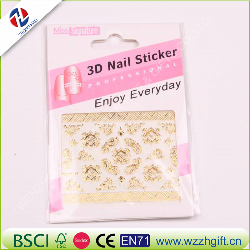 New Gold 3D Nail Stickers,Metallic Mix Designs Flowers Nail Decal,Beauty Creative Nail Art Decoration