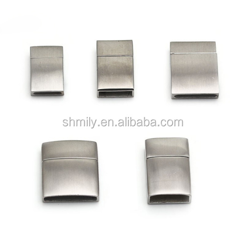 5 Sizes Matte Surface Rectangle Stainless Steel Magnetic Clasps For Flat Leather Cord Magnet Bracelet Necklace Jewelry BXGC-002