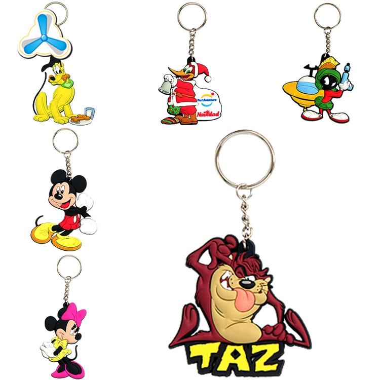 Hot custom logo 2D 3D soft pvc keychains rubber key chains promotional gift keyring