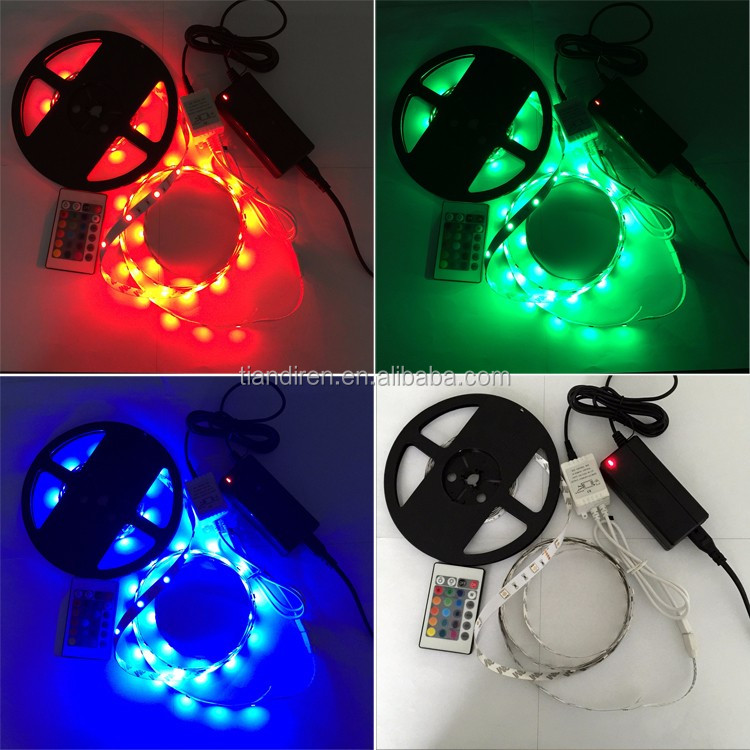 RGB color changeable 5050 SMD DC12V/24V 60LED/M IP20 waterproofed LED flexible strip lights christmas decoration strips lighting