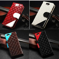Luxury design knitting pattern leather cover case for iphone 6