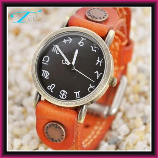 2013 new leather watch wrap for women with constellation number leather band special style hot in US