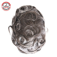 Golden Hair Natural Straight Virgin Brazilian Hair Grey Hairpieces