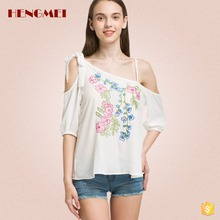 Woman sexy shirt embroidered blouse off shoulder chiffon top