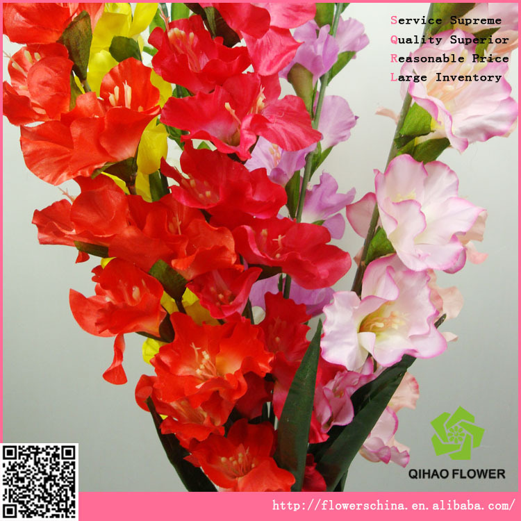 Artificial white gladiolus flowers making with many flower heads
