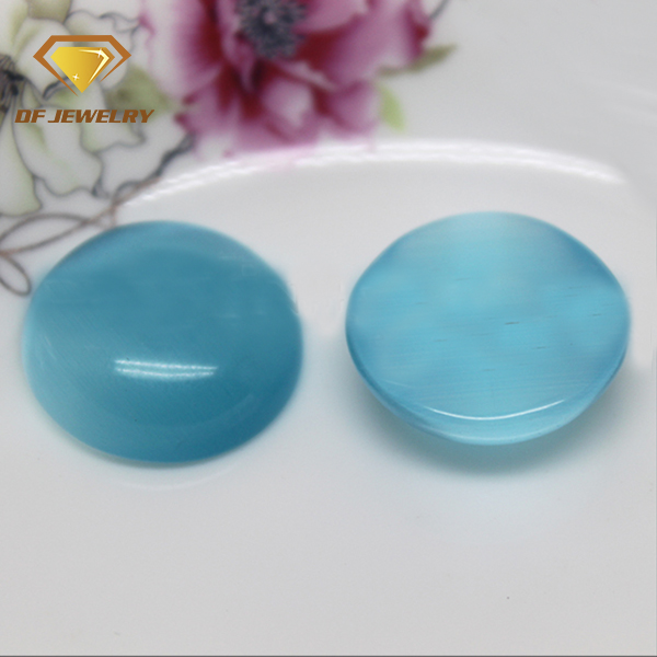 HS-29 big size 20mm round blue cats eye gems flat bottom cabochon glass gems