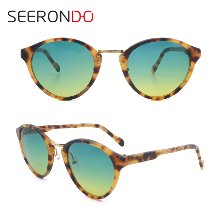 SEERONDO Bulk Buy Custom Logo OEM Male Female Acetate UV400 Round Metal Beam Sunglasses