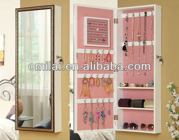 decorative wooden wall shelf mirrored jewelry cabinet