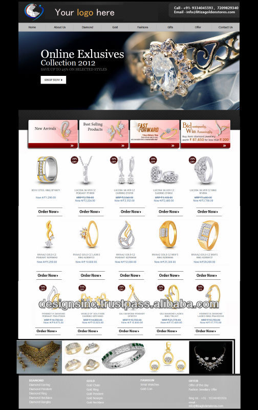 Dynamic website Design and development solutions/Jewellery showroom website development/product listing