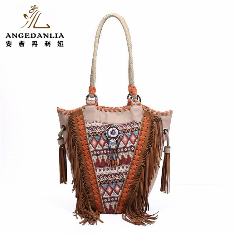 Bohemian Handbags PU Leather Bags with Banjara Textile Embroidered Bag Boho Hippie Indian Bags