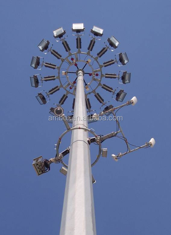 High Mast with Lowering Device for Lighting Towers