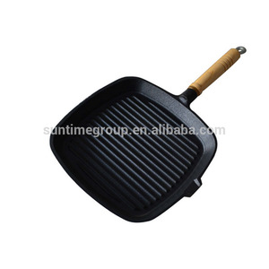 Cast Iron Polygon Die-cut Frying Pans/ Grill Pan/BBQ Plate with Removable wooden Handle