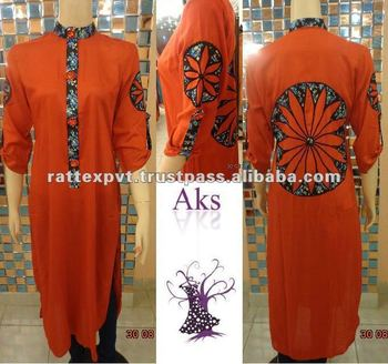 Wheel Design back and sleeve printed round neck long kurtis