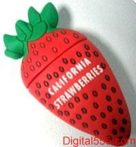 charming strawberry usb, PVC USB2.0, sweet fruit USB