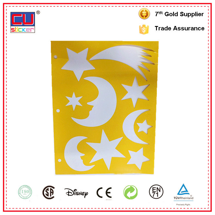 PP/PET/PVC reusable plastic drawing stencils for kids