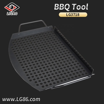 Durable non-stick design grill topper pan with two handles for vegetables and shrimp
