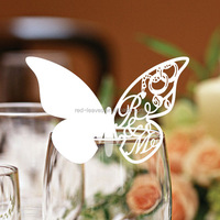 White color custom butterfly wedding table name card place card holder to decorate your wedding