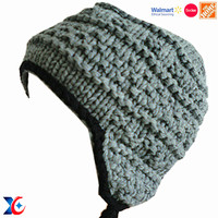 Walmart certification hot sale popular winter hats with pom poms