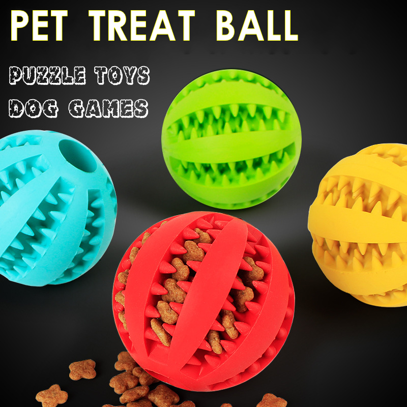 Rubber Pet Treat Ball Treat Dispensing Treat Chaser Dog Games Puzzle Toys Size Small