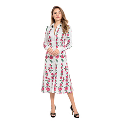 2018 Autumn New Arrivals Floral Print Maxi Ladies Dress Long Sleeve Button Front Shirt Collar Elegant White Coat Dresses
