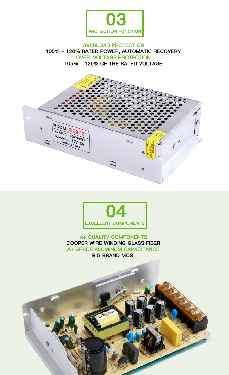 60w 15w 25w 36w 5v 12v 24v 48v dc switching power supply CE approved for LED strip