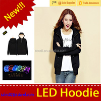 3 Modes fashion el hoodie,el wire hoodie,el flash hoodie with various color