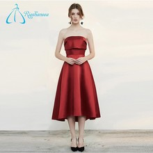 A-Line Strapless Tea-length Burgundy Plus Size Prom Dress