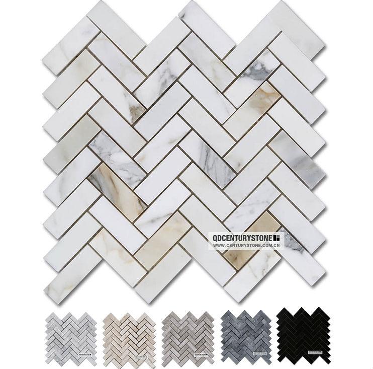 Ingrosso thassos grecia bianco e verde mosaico di marmo for Modello di layout del pavimento