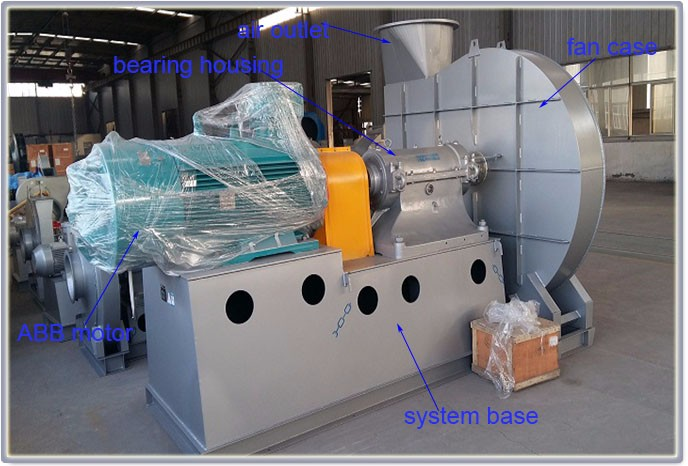 Free standing AC electric type high pressure coal powder centrifugal fan