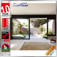 European style water proof three panel sliding glass door with flyscreen